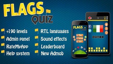 سورس کد بازی اندروید استدیو Flags Quiz – Android Game + Admin Panel