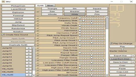 نرم افزار Bfxr ساخت افکت های صوتی برای بازی ها